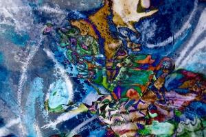 immagine astratta in colore blue dominante screziato
