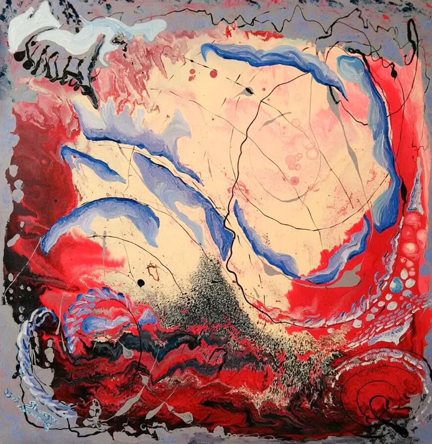 movimenti d'infinito pittura astratta di Barbara Stamegna con linee curve lilla e blu su sfondo rosso e crema con sfumature grige e striature nere
