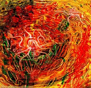 immagine di arte astratta con un movimento come di una energia fluida che si forma