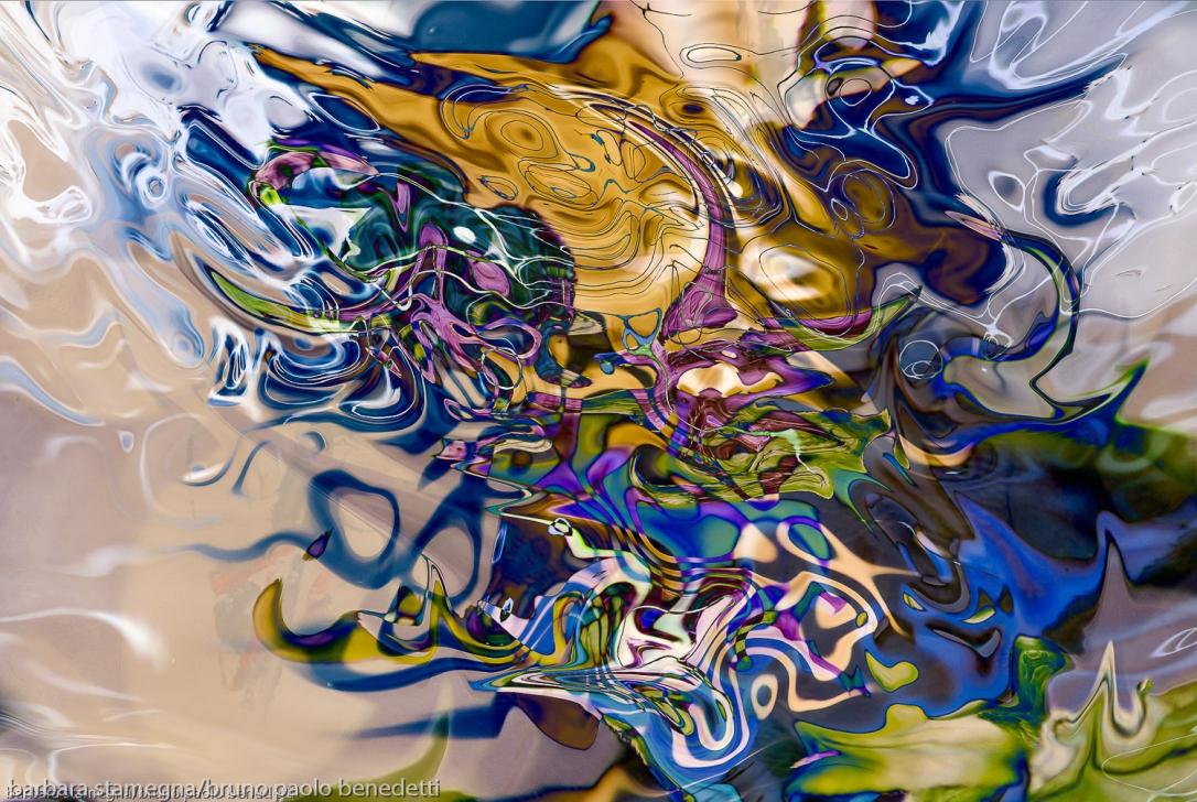 astrazione di forme fluide astratte: immagine astratta fluida colorata con forme astratte fluide che si dissolvono