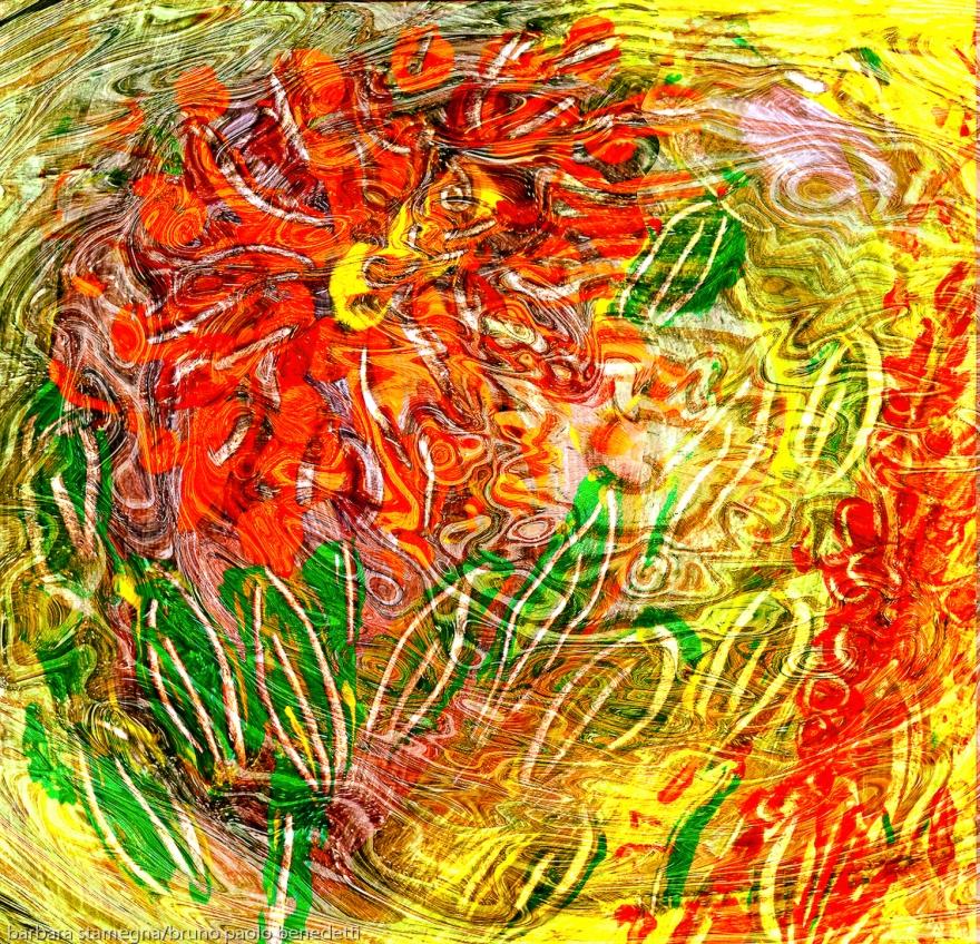 astrazione di fiore con forme di foglia su sfondo screziato con flusso energetico