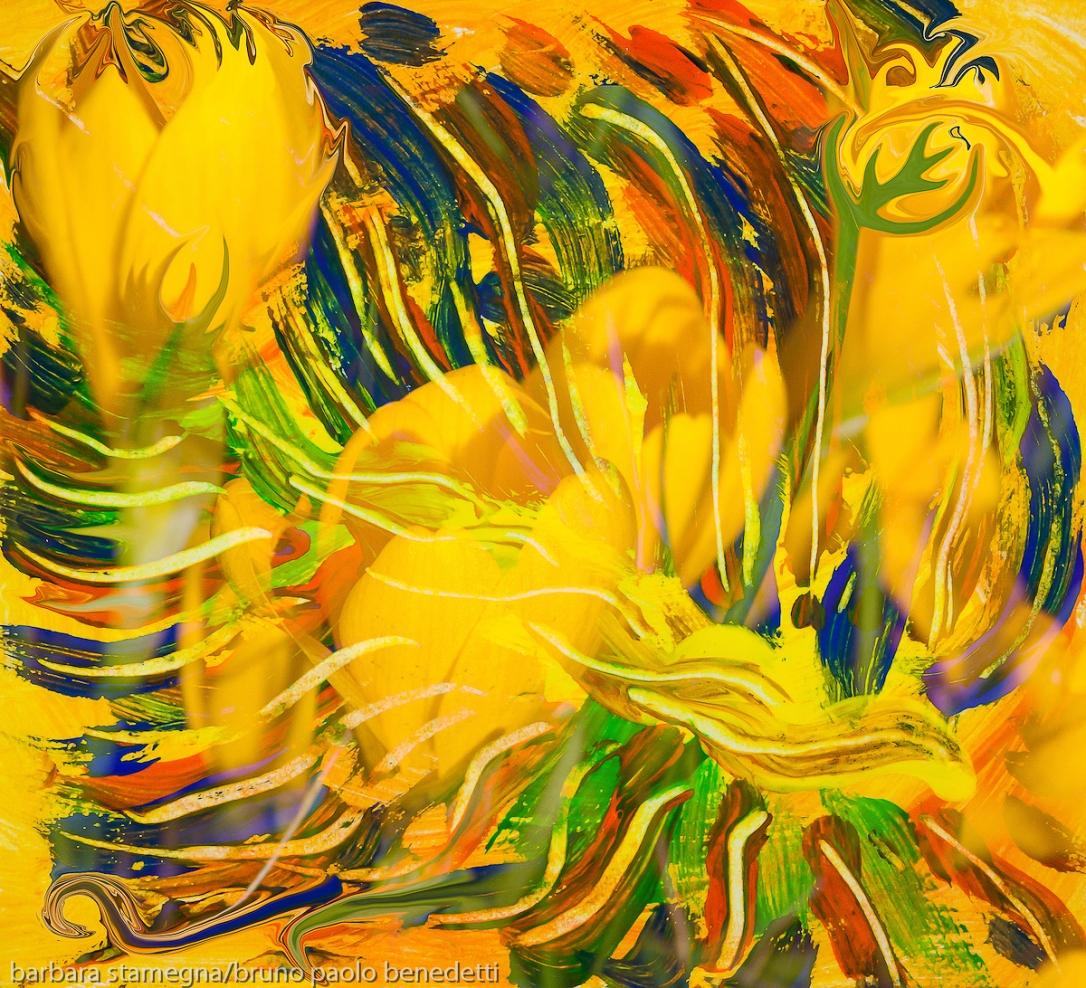 immagine astratta screziata come di fiori gialli con linee fluide ricurve in toni di dominnte di colore giallo