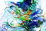 movimento come di forme fluide in immagine astratta screziata con forme liquide e linee