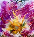 fiore astratto fluido giallo: immagine colorata con al centro un fiore fluido astratto con molti colori brillanti
