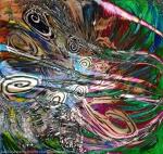 flusso di energia fluida astratta: immagine colorata con colori brillanti e forme concentriche in movimento e riccioli su sfondo screziato