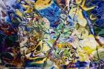 forme astratte blu gialle: immagine colorata con turbinii e toni brillanti e forme astratte
