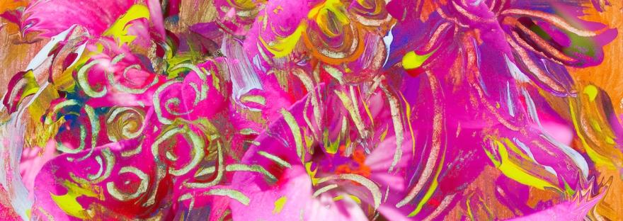 immagine forme astratte fiori con dominante di colore rosa e toni arancioni