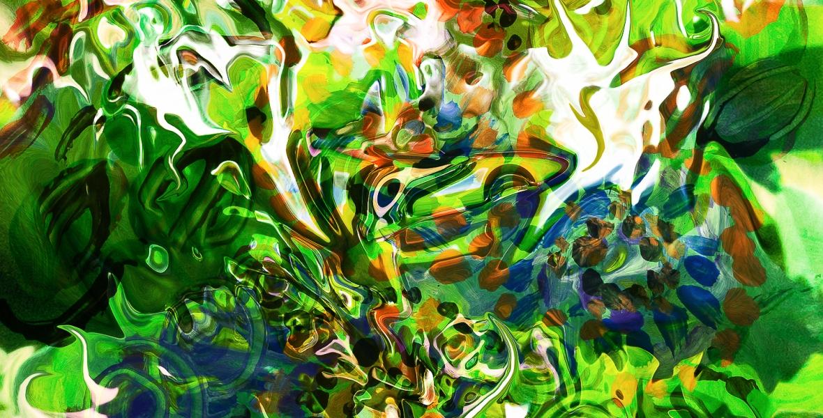 immagine colorata con colori brillanti e movimento di forme fluide astratte in colore verde dominante e toni bianchi