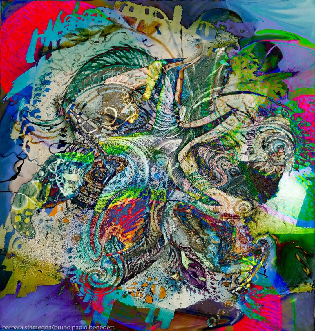 composizione astratta variopinta dai colori screziati con immagine astratta a forma di stella fluida