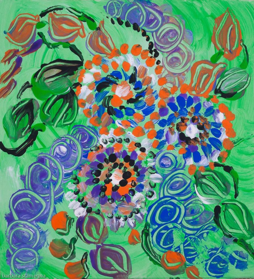 Prato verde con fiori pittura astratta: forme concentriche rotonde e punti con colori brillanti su sfondo verde