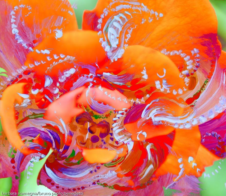 immagine astratta dinamica con forme astratte in movimento tipo un turbino di fiori