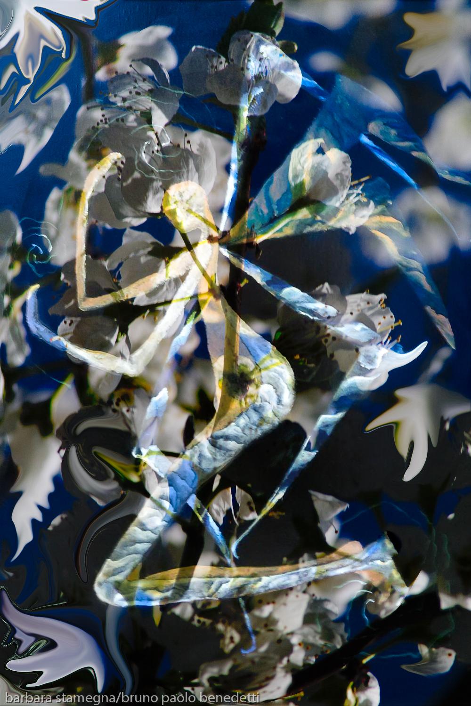immagine centrale screziata simile ad angelo con le ali su tema di colore bianco e blu