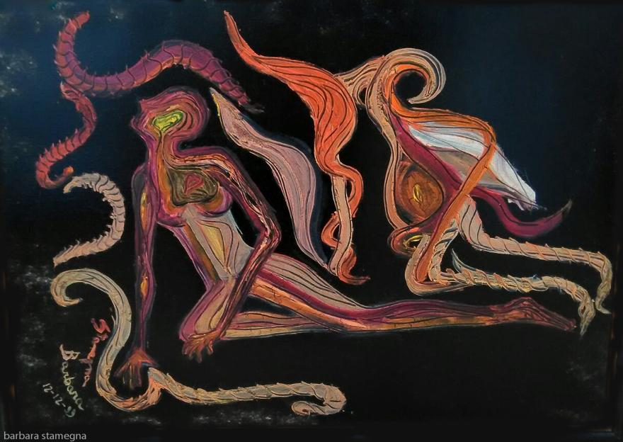 dipinto con colori rosso scuro, arancione, bianco, rosa, giallo di un angelo e un essere umano in attesa del giudizio