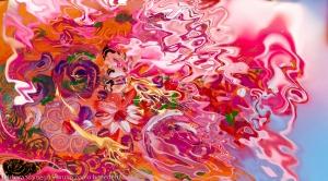astrazione floreale in immagine fluida con fiori astratti e forme astratte su sfondo sfuocato