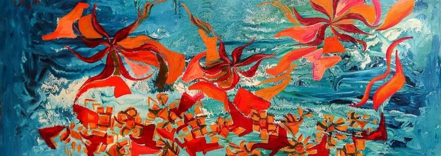 forme astratte di colore arancione brillante fluttuanti su uno sfondo di smalto