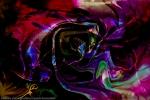 immagine con forme astratte di colore arcobaleno su sfondo nero