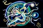dipinto astratto a olio su tela rappresentante una farfalla all'interno di un cerchio dai molti colori e su sfondo di smalto nero