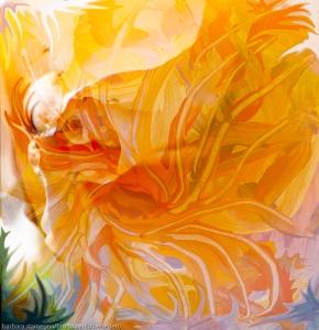 sogno floreale astratto immagine evocativa in dominante di colore arancione con forme fluide astratte