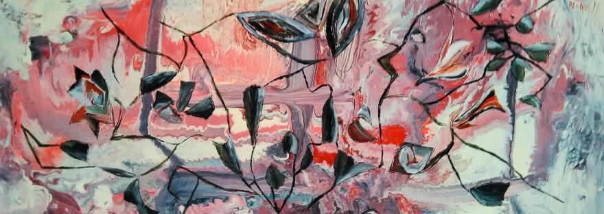 forme astratte grige e nere su uno sfondo di smalto dai colori rosso e grigio