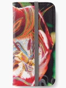custodia telefono con tema astratto in toni dominanti di colore rosso con una immagine centrale dai colori caldi su uno sfondo verde scuro a chiazze