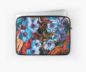 custodia per computer portatile con motivo floreale di forme di fiori di colore indaco su sfondo screziato
