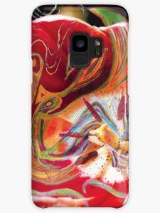 guscio per telefono con tema astratto in toni dominanti di colore rosso con una immagine centrale dai colori caldi su uno sfondo verde scuro a chiazze
