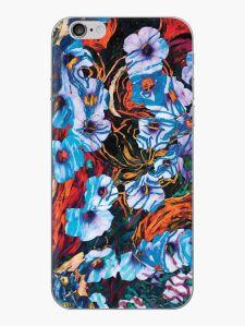 guscio per telefono cellulare con motivo floreale di forme di fiori di colore indaco su sfondo screziato