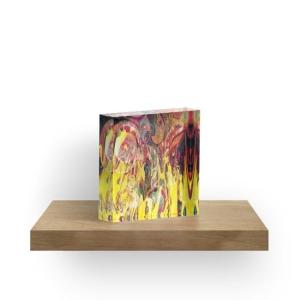 blocco arte in acrilico dai colori brillanti con rappresentazione come di un fuoco che si manifesta con forme come di fiamme su sfondo variopinto