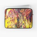 custodia per tablet dai colori brillanti con rappresentazione come di un fuoco che si manifesta con forme come di fiamme su sfondo variopinto