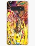 guscio telefonino dai colori brillanti con rappresentazione come di un fuoco che si manifesta con forme come di fiamme su sfondo variopinto