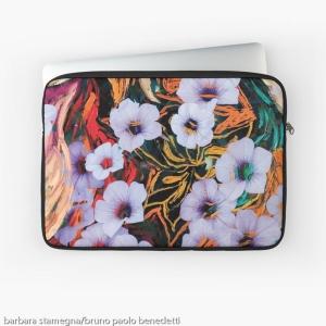 custodia per laptop con disegno di astrazione come di fiori eterei