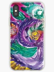guscio telefono cellulare con mmagine astratta con vortici e forme circolari dai toni di color porpora con screziature e con colori verdi,bianchi,fucsia,porpora e giallo