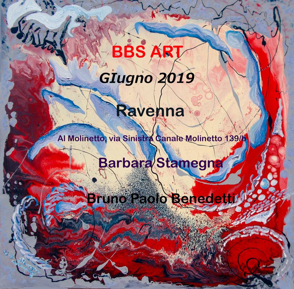 esposizione opere di bbs arte, dipinti di Barbara Stamegna e arte digitale da foto di Bruno Paolo Benedetti a Ravenna giugno 2019