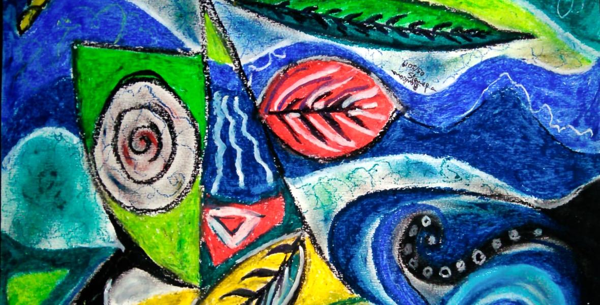 forme astratte dinamiche su sfondo ondeggiante con cerchi e forme concentriche e immagini di foglia con forme geometriche, curve e linee spezzate con sfumature