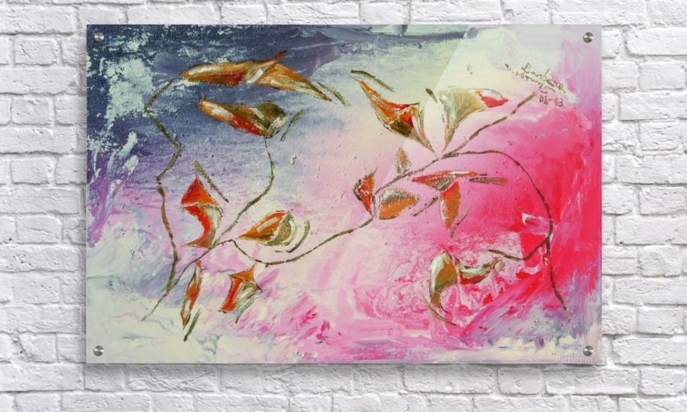 rappresentazione dell'autunno con tema floreale astratto su parete in mattoni
