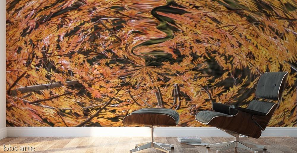 adesivo murale con un tema autunnale astratto con foglie e alberi in un vortice sulla parete di uno studio