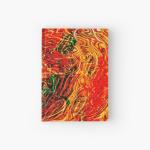copertina rigida di diario con tema astratto di energia fluida in dominante di colore rosso con sfumature verdi
