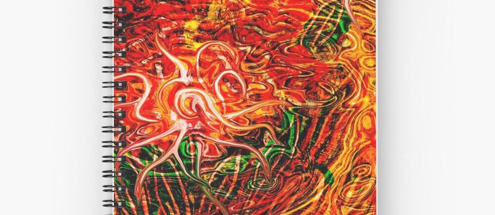 notebook a spirale con tema astratto di energia fluida in dominante di colore rosso con sfumature verdi