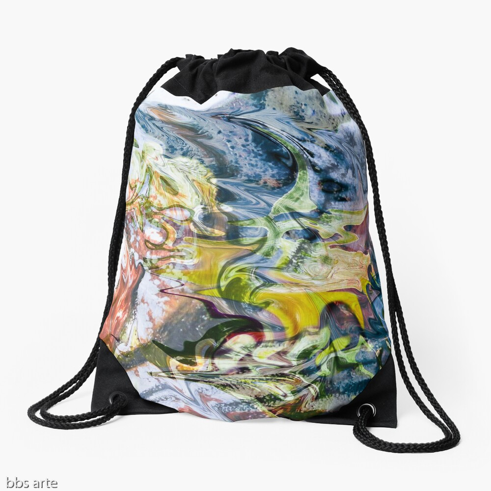 drawstring bag with abstract fluid objects pattern