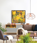 stampa su tela di immagine con tonalità dominanti di giallo con cornice