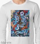 maglia da uomo a maniche lunghe con immagine variopinta astratta di fiori e forme fluide