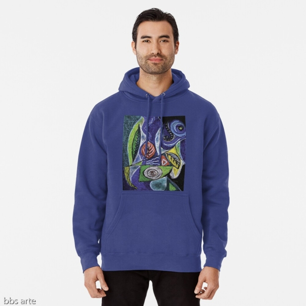 felpa azzurra da uomo con cappuccio e tasca anteriore, dal design di foglie e forme astratte con toni di azzurro, verde, nero, giallo, bianco