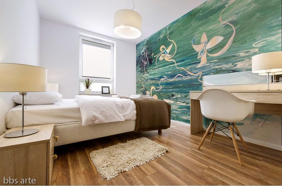 stampa adesiva murale con motivo astratto florealesu acqua in tonalità verde con forme floreali astratte su parete di camera da letto