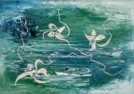 motivo astratto floreale con acqua in tonalità verde con forme floreali astratte