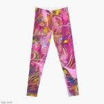 leggings con disegno floreale astratto screziato dalle tonalità rosa e arancione