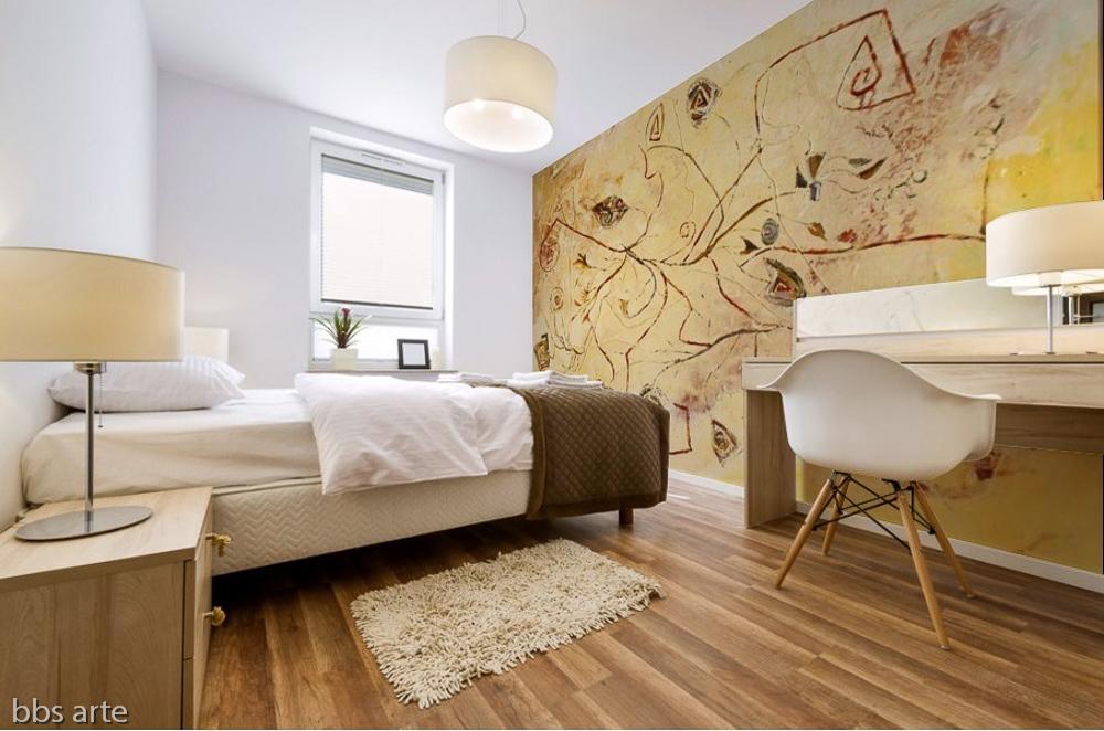 stampa adesiva murale con tema astratto con fili e forme geometriche triangolari,rettangolari con riccioli in tonalità di colore giallo su parete di camera da letto