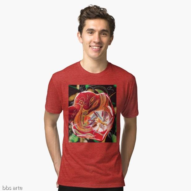 t-shirt uomo dai toni di rosso, nero, arancione, verde e bianco con design astratto di forme e linee curve