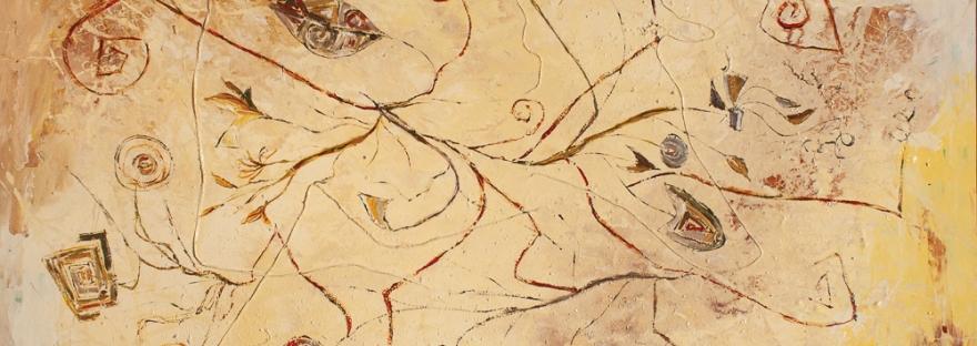 tema astratto con fili e forme geometriche triangolari e rettangolari, con linee curve in sfumature e tonalità calde con dominante di colore giallo