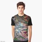 t-shirt con disegno fluido astratto di energia