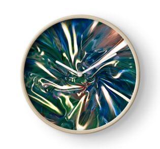 tema astratto con vortice fluido di luce e colori di tonalità blu su orologio murale
